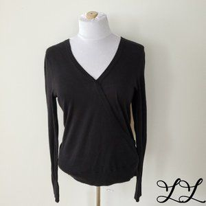 NWT Halogen Tee Long Sleeved Black Crossover Front